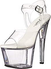 Dancer sandal with towering lucite platform and heel Clear upper with open toe Ankle strap with buckle closure