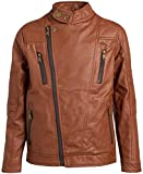 URBAN REPUBLIC Big Boys' Faux Leather Asymmetrical Zipper Moto Jacket, Size 18/20, Cognac