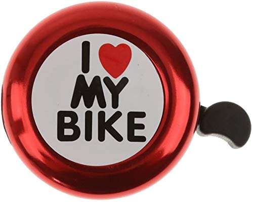 WTTX Mini Fahrrad Klingel für Kinder/klingelt laut und hell/I Love My Bike (Rot, 54mm)