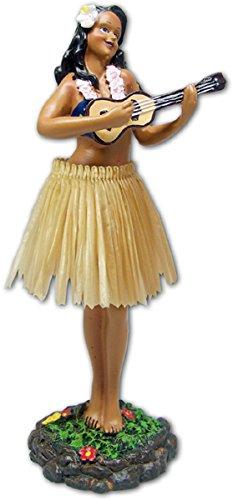 KC Hawaii Leilani Dashboard Doll Playing Ukulele Natural 7 inches