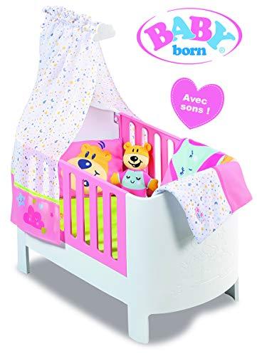 BABY Born Magisches Bett mit Sounds, kompatibel mit Puppen bis 46 cm, inkl. Bettset und Kuscheltier, Spielzeug für Kinder ab 3 Jahren, BBY11