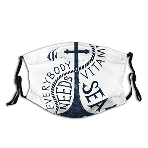 Comfortable Activated Carbon mask,Everybody Needs Vitamin Sea Lettering On Sketched Anchor Figure,Printed Facial Decorations for Adult