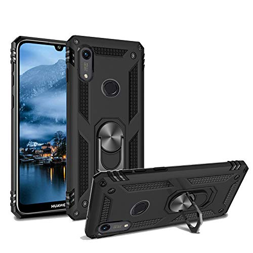 Phone Case for Huawei Y6 2019 /Y6 Prime Armor Heavy Duty 360 Rotatable Ring Kickstand Cover & Magnetic Car Mount Grip Shockproof Back Case for Huawei Honor 8A(Black)