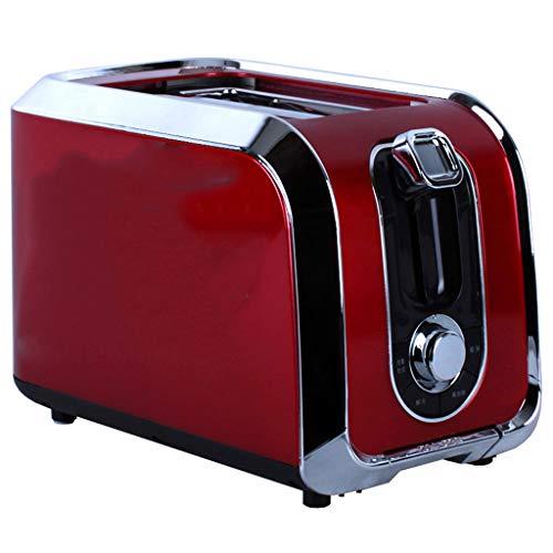 JM- Tostadora, Ranura Ancha de 2 rebanadas con Carcasa de Acero Inoxidable Cromado, descongelación/Bagel/cancelación y Mermelada de Pan (Rojo)