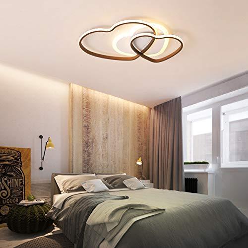 Weiss Schlafzimmer Deckenlampe, LED Panel Wohnzimmer-lampe Dimmbar mit Fernbedienung Deckenleuchte Modern Geometrische Design kinderzimmer Lampe Metallrahmen Lüster Küche Landhaus lampen (3-Herzform)