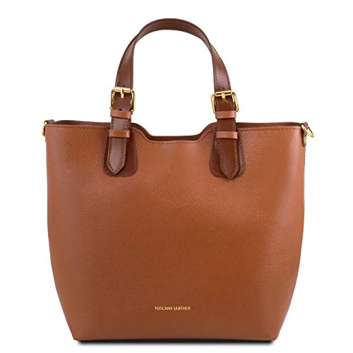 Tuscany Leather TLBag Borsa shopping in pelle Saffiano Cognac