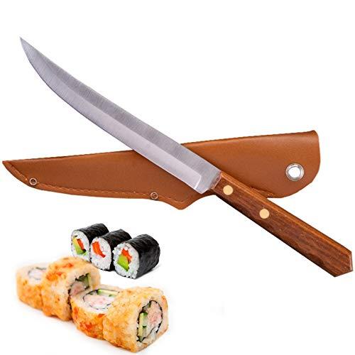 Cuchillo de acero inoxidable Cuchillo de pesca Peces de carne de sushi Cuchillo de sushi Herramienta de corte de verduras con cubierta de cuchillo (Color : Fishing Knife)
