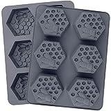 Uniquk Paquete de 2 Moldes de JabóN de Silicona con Forma de Panal de Abeja Hexagonal de 6 Cavidades Molde Flexible Bandeja Cuadrada de Hielo, Antiadherente y Sin BPA