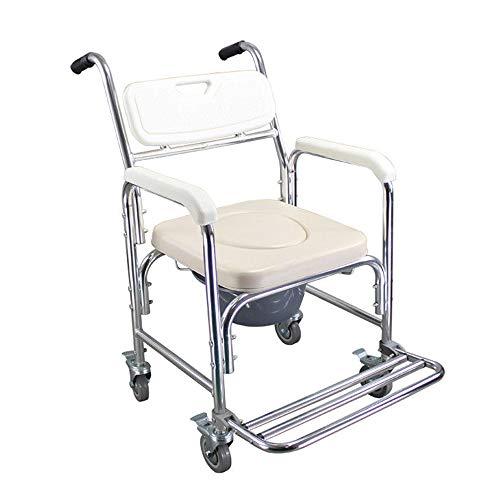 HENGMEI Rollstuhl Fahrbarer Toilettenstuhl Duschstuhl Nachtstuhl auf Rollen Transportrollstuhl 360°C Drehbar mit Feststellbremse (Modell A, 360°C Drehbar)