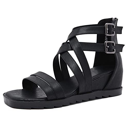 YNSNWBD Gothic Schuhe Sommer Schwarze Sandalen Gothic Damen Sandalen mit niedrigem Absatz Lässige Abdeckung Mit Damenschuhen Offene Hohle Damensandalen
