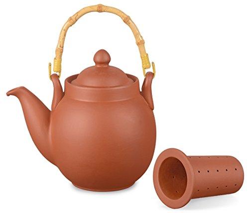 Aricola Ton Teekanne Tenno 0,8 Liter mit Tonsieb und Bambushenkel, Handgefertigt, Original