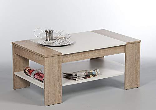 Finley Sonoma 172410 - Tavolino da salotto con 1 ripiano, colore: rovere e bianco
