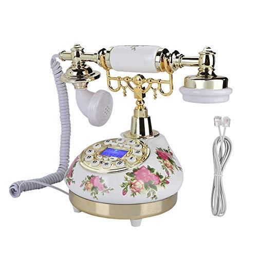 Jopwkuin Teléfono Antiguo Teléfono Giratorio, Volumen Ajustable Decoración del Hogar FSK/DTMF Sistema Dual Teléfono Retro con Cable para Oficina Hogar Hotel para Regalo