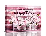 SOULDOOR Fashion Women Kunstdruck Pink Blumen Gemälde