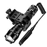 ccko Rechargeable Tactical Flashlight 1200LM LED Handheld Torch Waterproof W/18650 + Battery Charger +Offset Picatinny Rail Mount +Remote Switch for Outdoor Hunting Camping Hiking