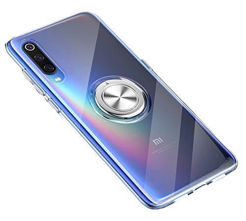 SORAKA Durchsichtige Hülle für Xiaomi Mi 9 Se mit 360 Grad drehbarem Ringständer Weicher TPU durchsichtiger Schutzhülle mit Metallplatte für Handyhalterung Auto KFZ Magnet Stoßdämpfung