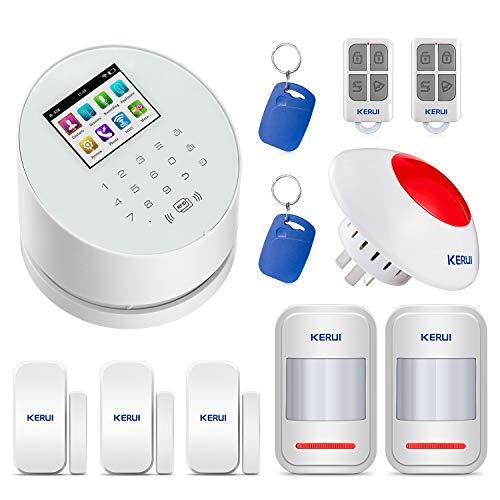 KERUI W2 WIFI/GSM/PSTN Control de Sistema de Alarma de Casa por APP/SMS/CALL Kits de Sistema de Alarma de Seguridad para el Hogar DIY con Sirena de Alarma Antirrobo y Etiquetas RFID