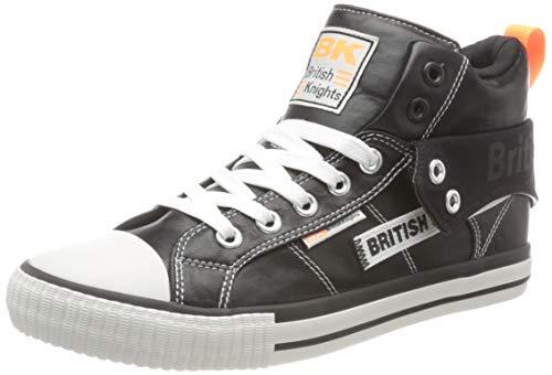 British Knights ROCO Tag Sneaker, Black/NEON ORANGE, 39 EU