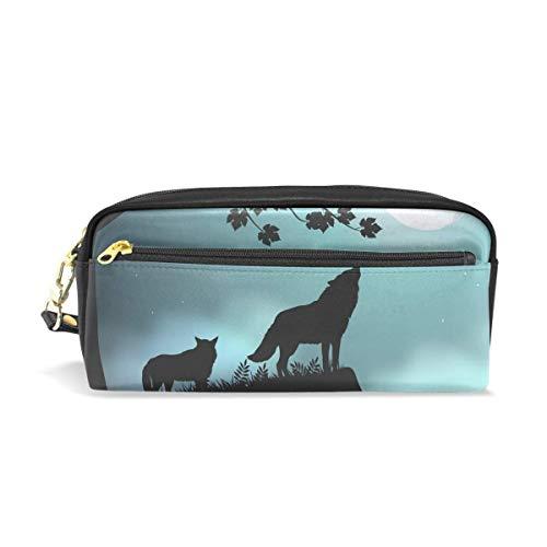 Pencil Box,Estuche Para Lápices Wolf Tree Moon Animal, Elegantes Bolsas De Maquillaje Para Cumpleaños, Día De San Valentín,20x5.5x8.5cm