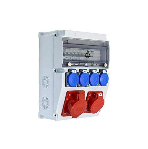 Coffret électrique de chantier étanche équipé EDO ASTAT 119SP 1x32A/5P, 1x16A/5P, 4x230V + disjoncteurs HAGER EDO777150