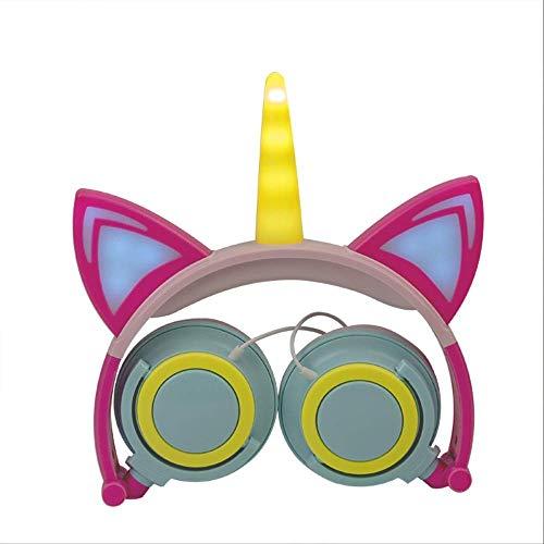 Auriculares plegables con diseño de unicornio y orejas de gato brillantes (color : unicornio pétalo melocotón) HAOSHUAI (color : unicornio ángulo derecho)