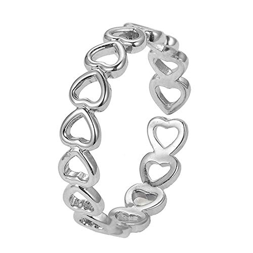 pengyu- Fashion Women Hollow Love Heart Stacking Thumb Finger Ring Wedding Jewelry Gift, Fashion Simple Color Rings for Teen Girls Women - Silver