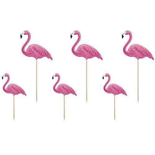 DekoHaus 6 Stück Cupcake Topper Flamingo in Rosa 15cm-23,5cm Tortenaufleger Kuchendekoration Muffindekoration Candybar