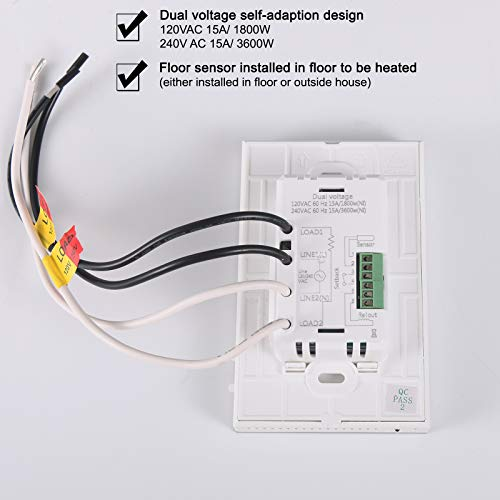 Radiant Underfloor Heating Thermostat 120/240V Dual Voltage LCD Display Programmable Build in GFCI with Air and Floor Sensor