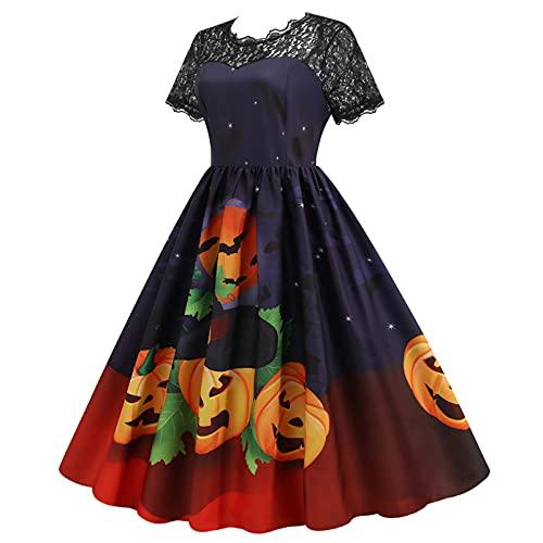 Briskorry Vestito da strega da donna per Halloween, costume da strega, gatto nero, in...