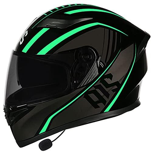 Casco de Motocicleta con Bluetooth,Cascosintegrales con Doble Visera Anti Vaho Anticolisión Transpirable para Mujer Hombre Adultos, Certificacion DOT/ECE C,XXXL=64~65CM