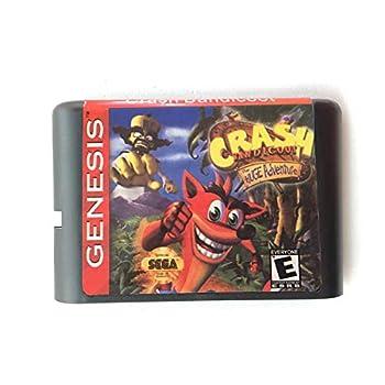 Jhana Crash Bandicoot 16 bit MD Memory Card for Sega Mega Drive 2 for SEGA Genesis Megadrive  US EUR Shell