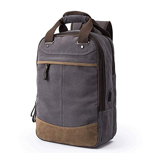 HTMAL Rugzak Heren Koreaanse Rugzak Casual Reistas High School Student Bag Heren Mode Trend Herentas Multifunctionele Draagbare Schouder Katoen Was Canvas
