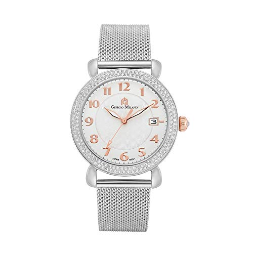 Giorgio Milano Wrist Watch for Women - Sparkly Womens Watches with Stone Bezel - Analog Hardex Silver Face with Date, Numbers and Index - 40 mm Case