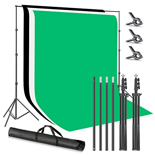 Neewer Sistema Soporte para Telón de Fondo con Soporte de Fondo Foto Estudio 2,6x3m con 1,8x2,8m Fondo Poliéster (Blanco/Negro/Verde) Abrazaderas y Bolsa Transporte