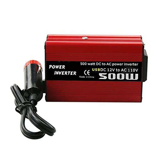 Gobutevphver Convertidor de Corriente 500W DC a AC Convertidor de Corriente DC 12V a 110V 220V AC Inversor de automóvil Transformador automático con Adaptador de automóvil USB Dual - Rojo 110V