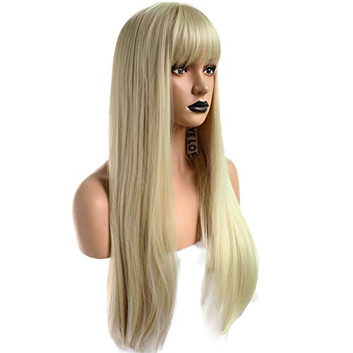 Anogol Hair Cap+Long Blonde 613 Wig Synthetic Hair With Fringe Bangs Natural Wavy Wigs For Women