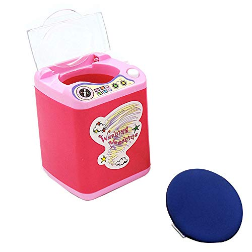 Mini Waschmaschine Spielzeug Make-up Pinselreiniger Elektrisch Gerät Kosmetik Reinigung Drying Pad Kinderwaschmaschinen Reiniger 360° Drehbar Reinigungs-Entferner-Set Wäsche Spielset