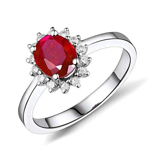 Daesar Anillo de Boda de Oro Blanco 18K Mujer,Flor Oval Rubí Rojo 1ct Diamante 0.21ct,Plata Rojo Talla 18,5