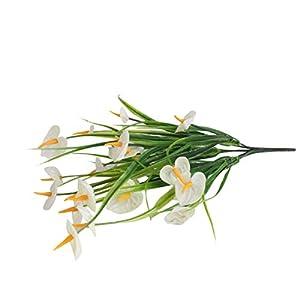 Rickitrty 2 Bunches Artificial Anthurium Flowers, Outdoor Silk Narcissus Fake Plants Bushes Faux Floral Bouquets Table Centerpieces Arrangements Wedding Home Kitchen Office Decor 13.38″