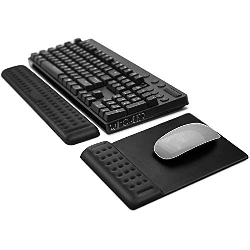 WinCheer Keyboard Wrist Rest & Mouse Pad with Wrist Support, Memory Foam Gaming Wrist Pads Sets Ergonomic Large Rest Pain Relief for Computer, Laptop, Typing, Office, Home (Large & Mouse Pad)