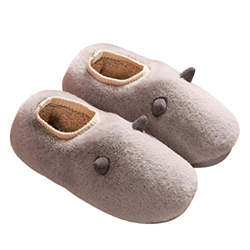 Y-PLAND Cartoon winter plush cotton slippers, bag with women's cute home slippers, warm confinement shoes, couple cotton slippers-gray_EU41-42