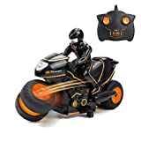 VAlinks RC Motorcycle Remote Control Motorcycles, 2.4Ghz High Speed and 360° Spinning with One Rechargeable Battery, Riding Figure Toys for Kids Boys Girls (Orange)
