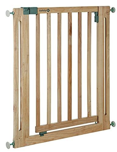 Safety 1st Easy Close Wood - Barrera de seguridad bebés, niños y perros, puerta de seguridad 73 cm hasta 80.5 cm con extensiones, color madera natural