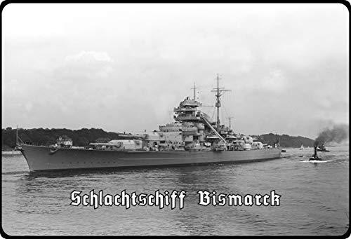 Generisch Cartel de Chapa 20 x 30 cm arqueado Deutsche Wehrmacht Guerra Marina matadero Bismarck Deko Regalo Cartel