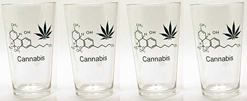 "Catamount 16 oz Borosilicate Pint Beer Glasses for Lager, Ale, Porters, Stouts and IPA's with ""Cannabis/Marijuana"" Molecular Graphics, Set of 4"