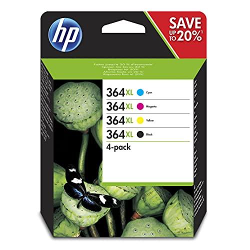 HP 364XL Pack de 4 Cartouches d'Encre Cyan, Magenta, Jaune et Noire grandes capacités Authentiques (N9J74AE)