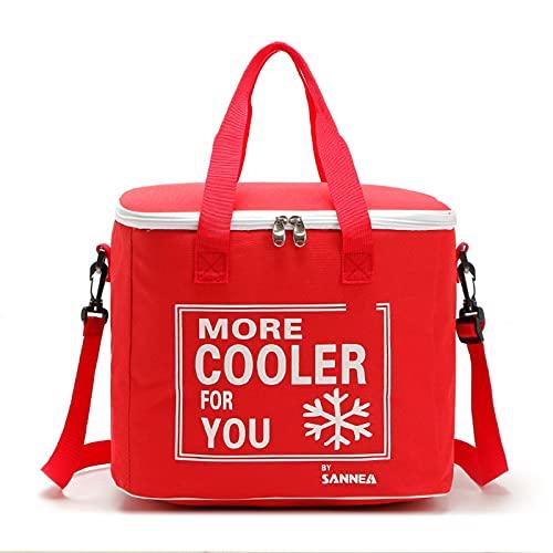 SZTUCCE 21L Capacidad Grande Color Sólido Bolso refrigerador Aislado térmico Bolso térmico a Prueba de Agua Caja de refrigerador portátil Paquete de Hielo Aislado (Color : Red)