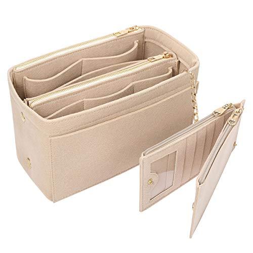 Yoillione Filz Taschenorganizer mit Kreditkartenetui, Damen Bag in Bag Handtaschen Organizer Mittel Beige, Taschen Organisator mit Reißverschluss