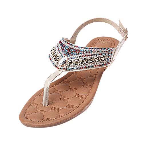 HOUMENGO Sandalias Mujer Verano Planas Bohemia Zapatos Planos Chanclas Transpirables con Punta Abierta Zapatos De Playa Sandalias Romanas