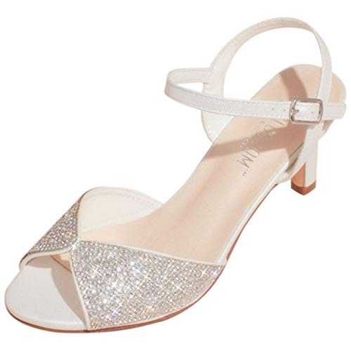 David's Bridal Crystal Peep-Toe Heeled Sandals with Satin Accents Style Adyson, White, 8.5